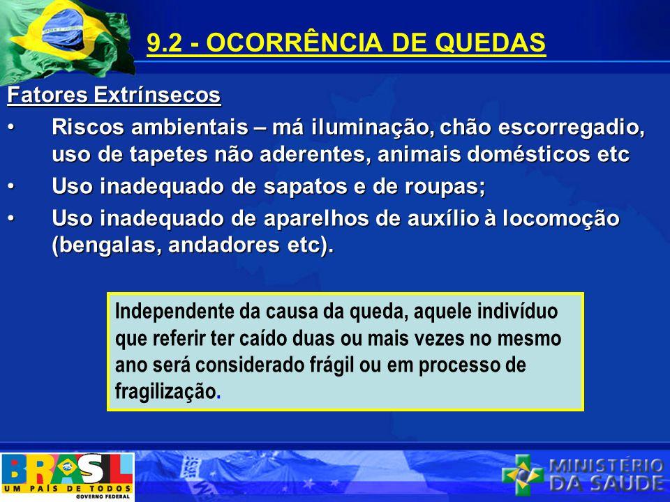 9.2 - OCORRÊNCIA DE QUEDAS Fatores Extrínsecos