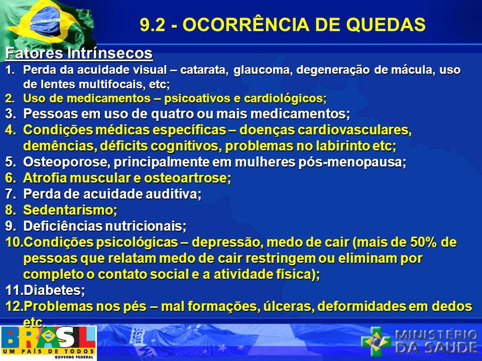 9.2 - OCORRÊNCIA DE QUEDAS Fatores Intrínsecos
