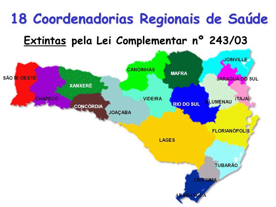 18 Coordenadorias Regionais de Saúde