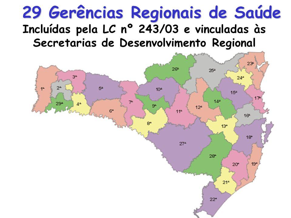 29 Gerências Regionais de Saúde