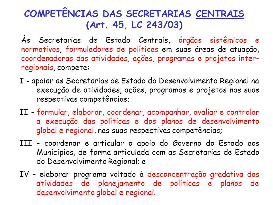 COMPETÊNCIAS DAS SECRETARIAS CENTRAIS