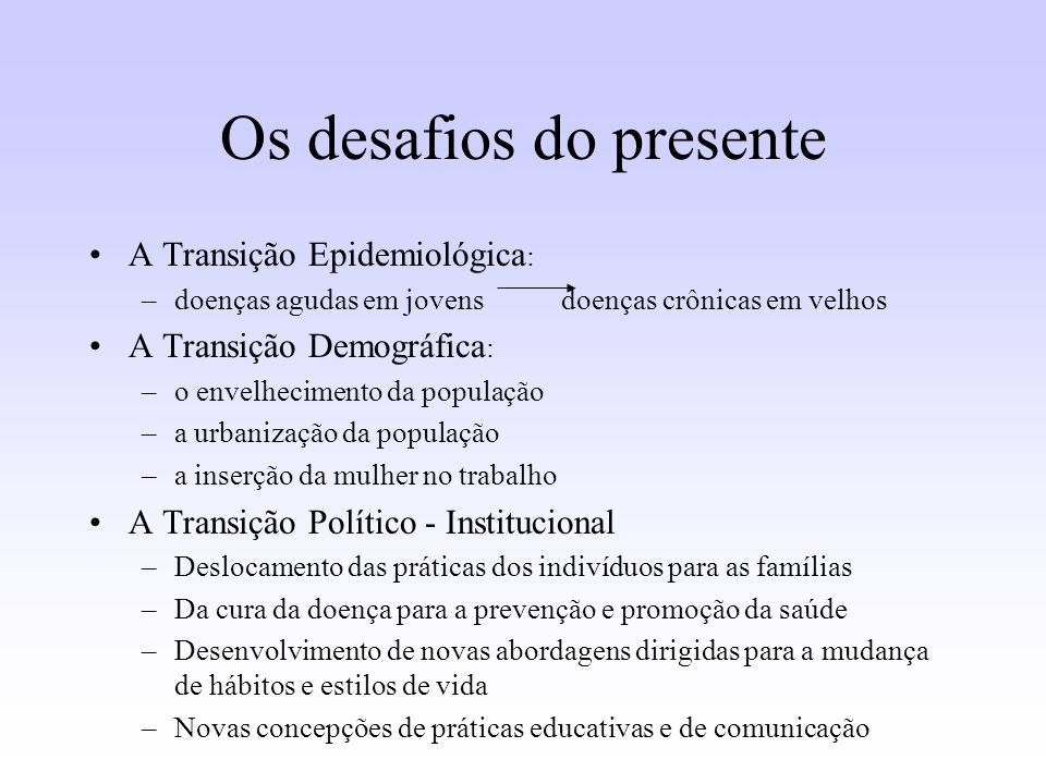 Os desafios do presente
