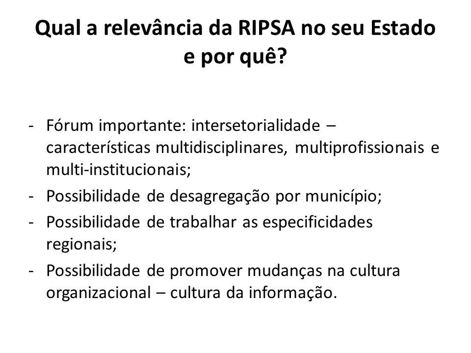 Qual a relevância da RIPSA no seu Estado e por quê