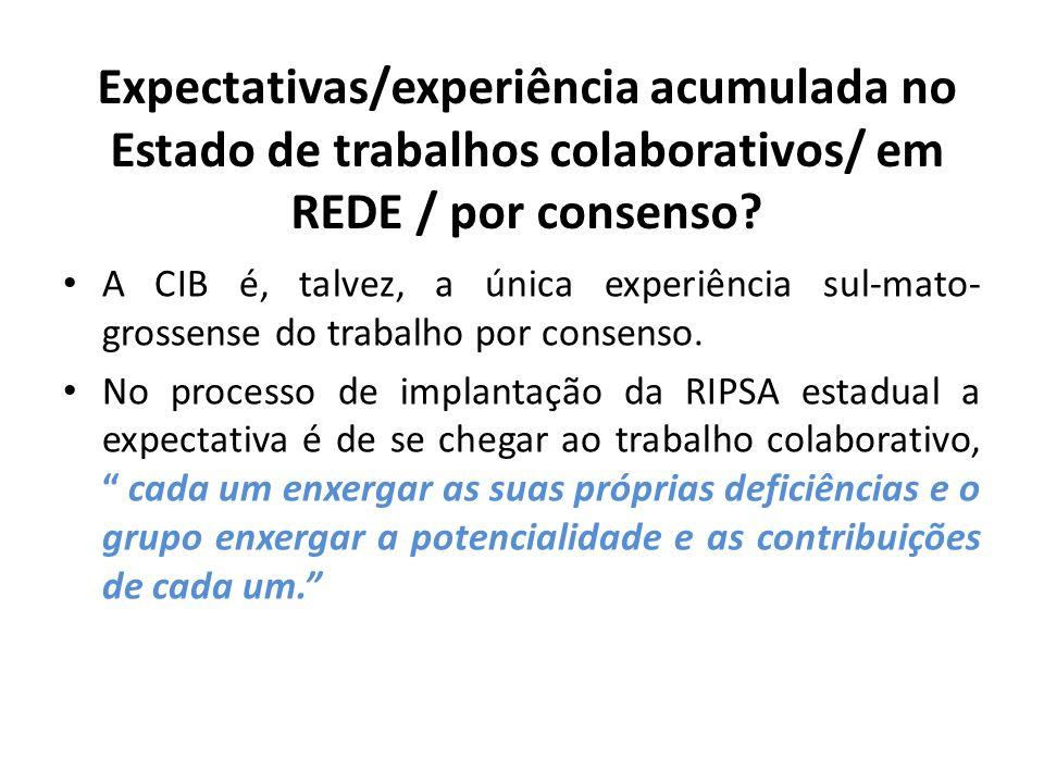 Expectativas/experiência acumulada no Estado de trabalhos colaborativos/ em REDE / por consenso