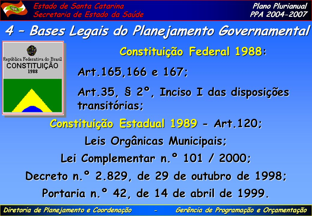 4 – Bases Legais do Planejamento Governamental