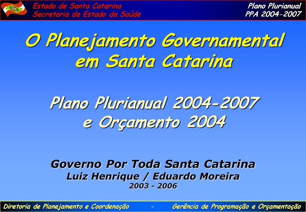 O Planejamento Governamental em Santa Catarina