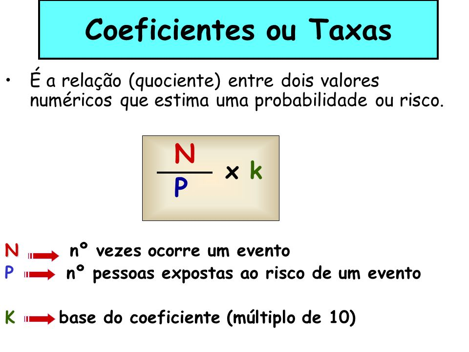 Coeficientes ou Taxas N P
