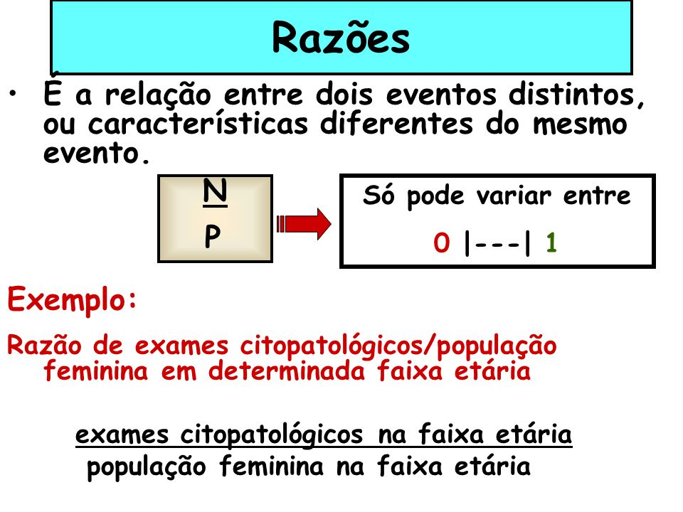 Razões É a relação entre dois eventos distintos, ou características diferentes do mesmo evento. Exemplo: