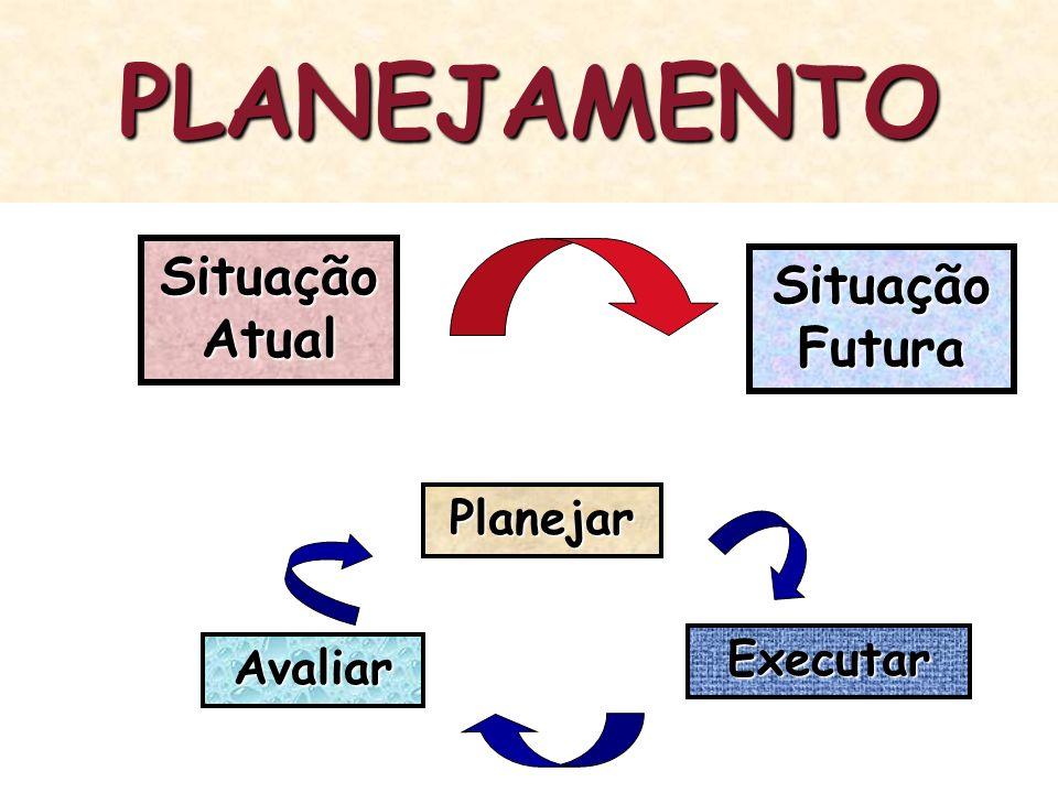 PLANEJAMENTO Situação Atual Situação Futura Planejar Executar Avaliar