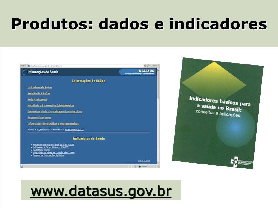 Produtos: dados e indicadores