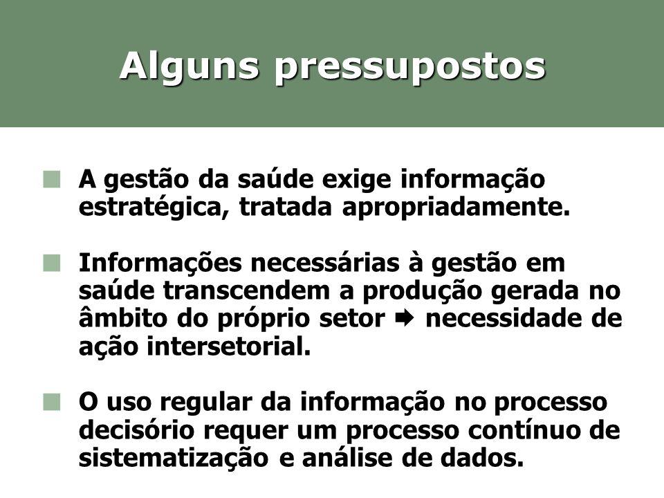 Alguns pressupostos A gestão da saúde exige informação estratégica, tratada apropriadamente.