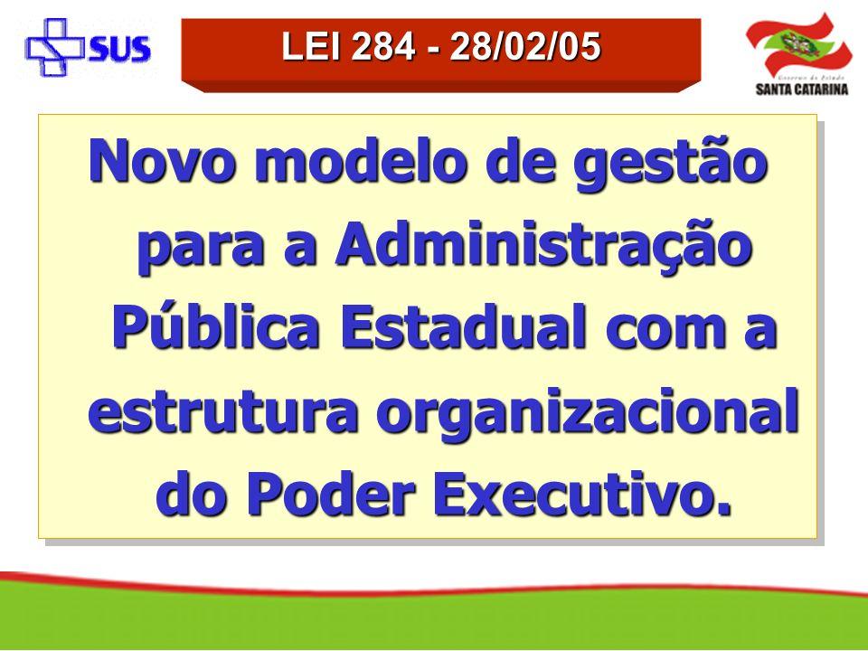 LEI 284 - 28/02/05 Novo modelo de gestão para a Administração Pública Estadual com a estrutura organizacional do Poder Executivo.