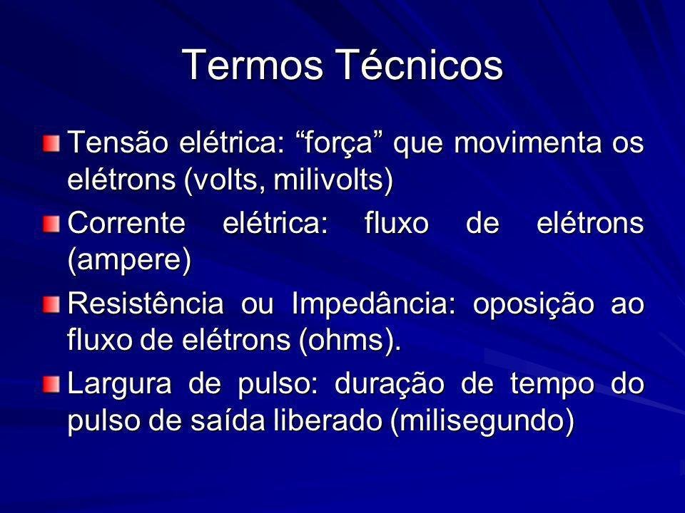 Termos Técnicos Tensão elétrica: força que movimenta os elétrons (volts, milivolts) Corrente elétrica: fluxo de elétrons (ampere)
