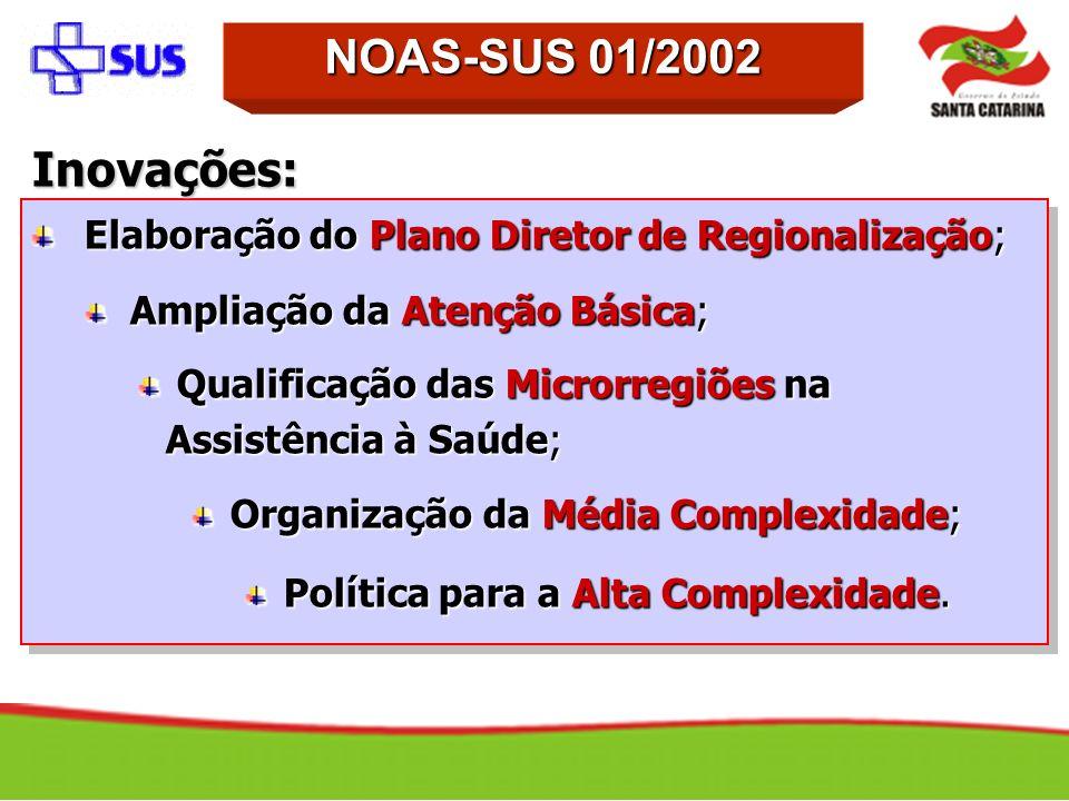 NOAS-SUS 01/2002Inovações: Elaboração do Plano Diretor de Regionalização; Ampliação da Atenção Básica;