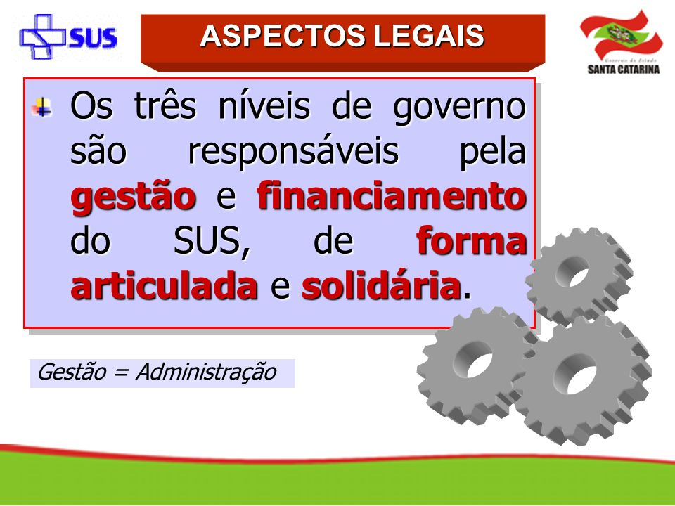 ASPECTOS LEGAISOs três níveis de governo são responsáveis pela gestão e financiamento do SUS, de forma articulada e solidária.