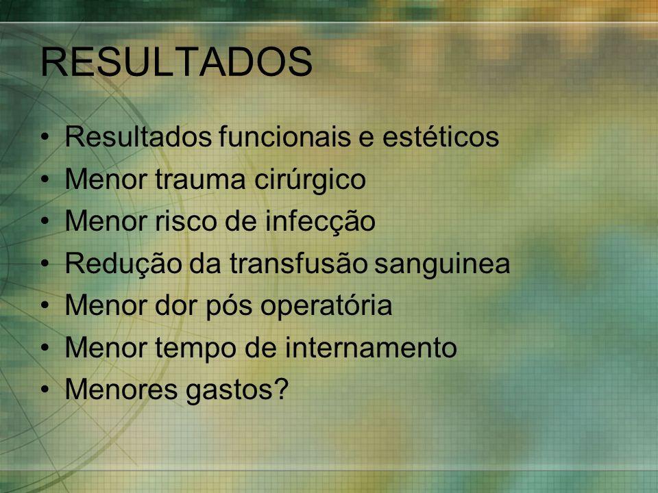 RESULTADOS Resultados funcionais e estéticos Menor trauma cirúrgico