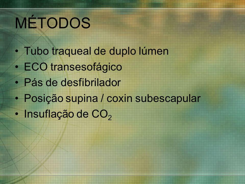 MÉTODOS Tubo traqueal de duplo lúmen ECO transesofágico