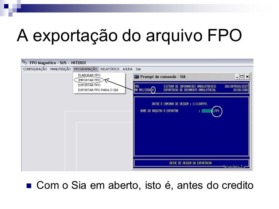 A exportação do arquivo FPO