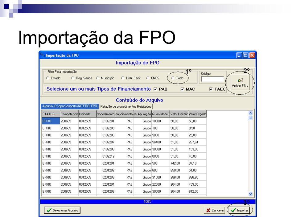 Importação da FPO