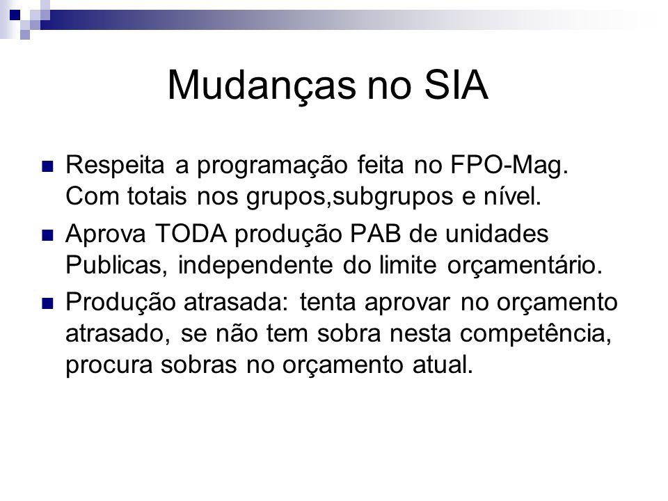 Mudanças no SIA Respeita a programação feita no FPO-Mag. Com totais nos grupos,subgrupos e nível.