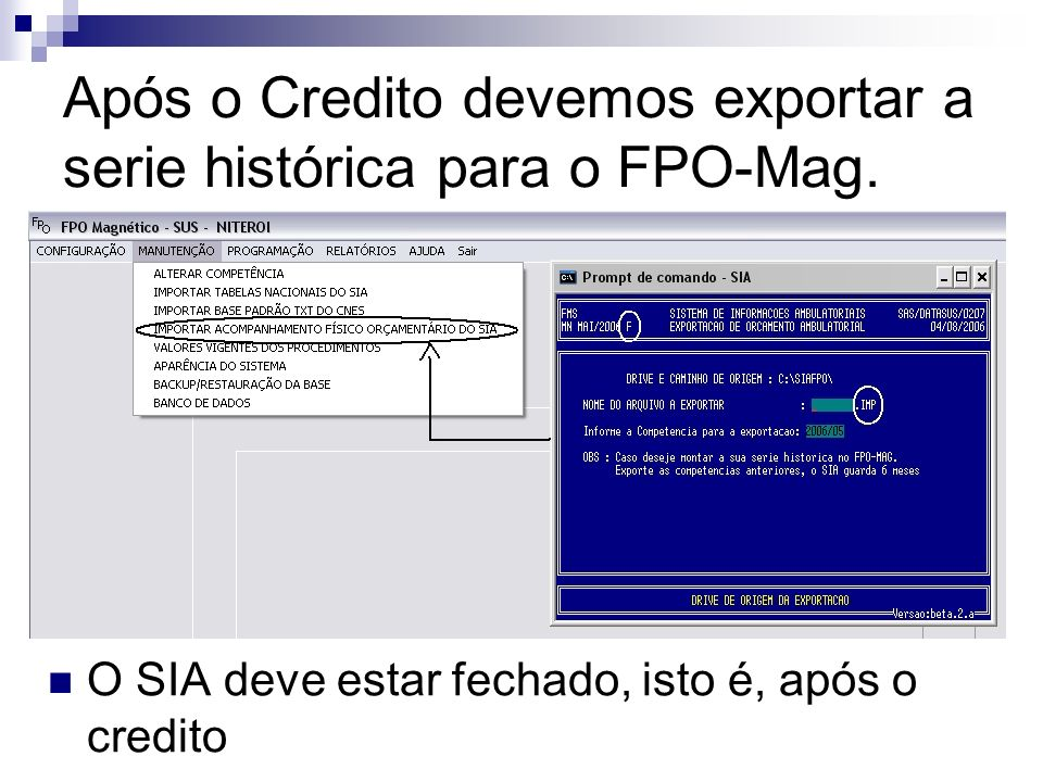 Após o Credito devemos exportar a serie histórica para o FPO-Mag.