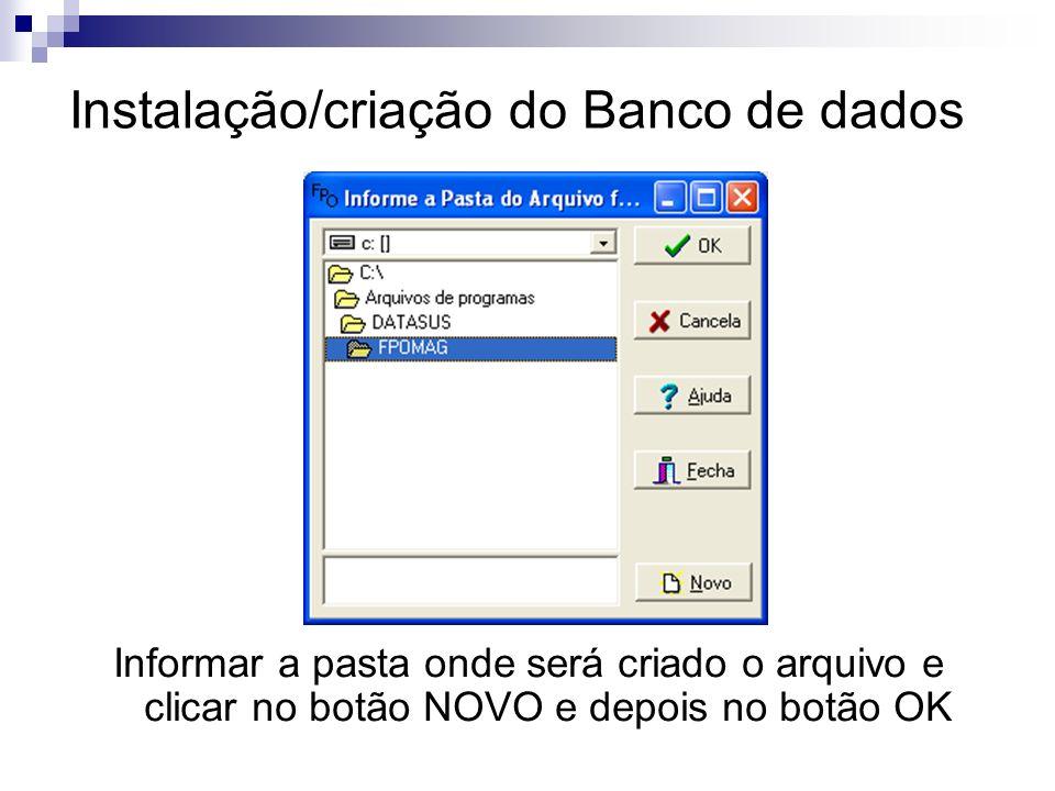 Instalação/criação do Banco de dados