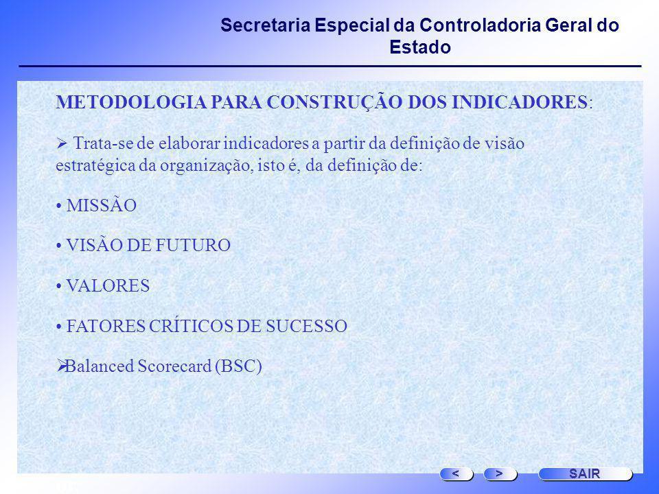 or, METODOLOGIA PARA CONSTRUÇÃO DOS INDICADORES: MISSÃO
