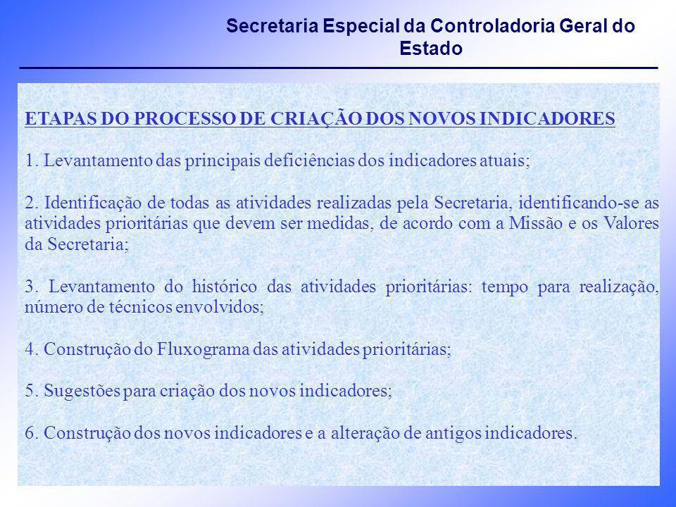ETAPAS DO PROCESSO DE CRIAÇÃO DOS NOVOS INDICADORES