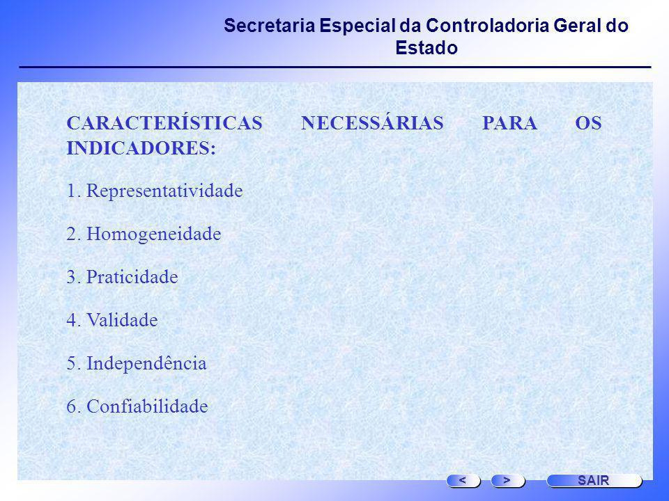 CARACTERÍSTICAS NECESSÁRIAS PARA OS INDICADORES: Representatividade