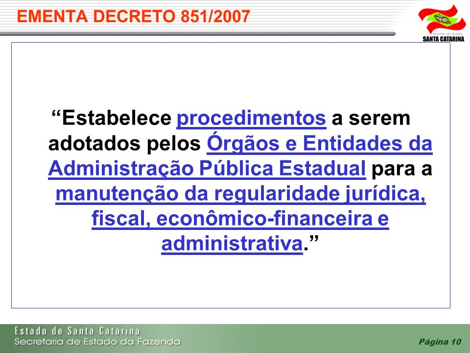 EMENTA DECRETO 851/2007