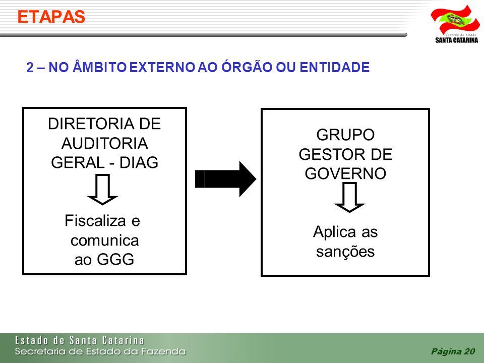 ETAPAS DIRETORIA DE GRUPO AUDITORIA GESTOR DE GERAL - DIAG GOVERNO