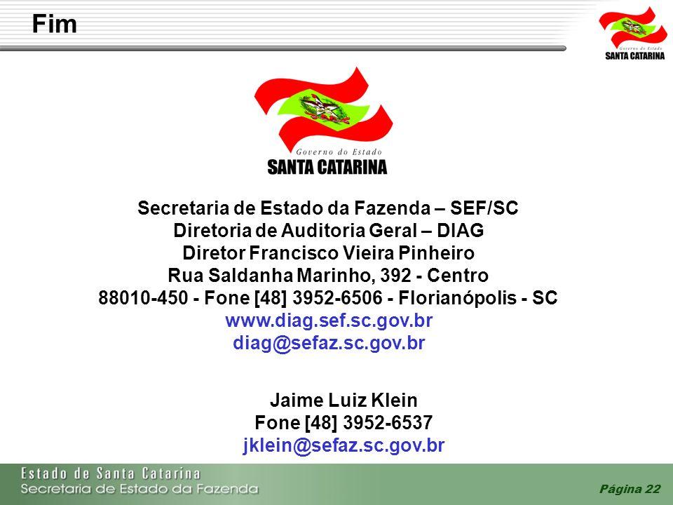 Fim Secretaria de Estado da Fazenda – SEF/SC