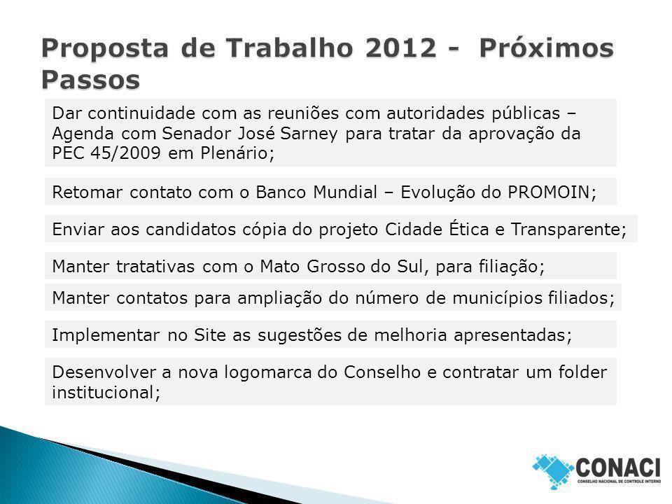 Proposta de Trabalho 2012 - Próximos Passos