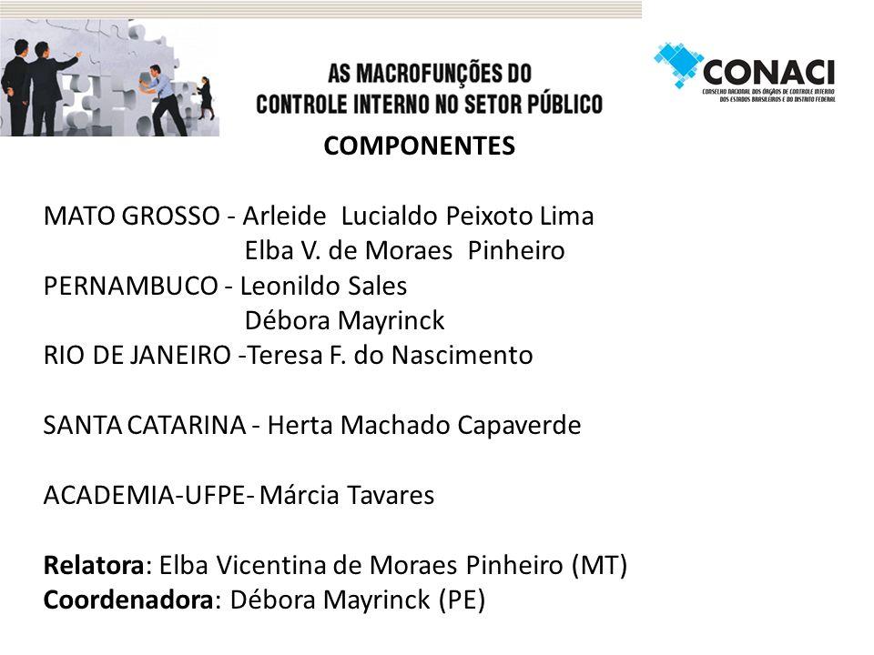 COMPONENTES MATO GROSSO - Arleide Lucialdo Peixoto Lima. Elba V. de Moraes Pinheiro. PERNAMBUCO - Leonildo Sales.