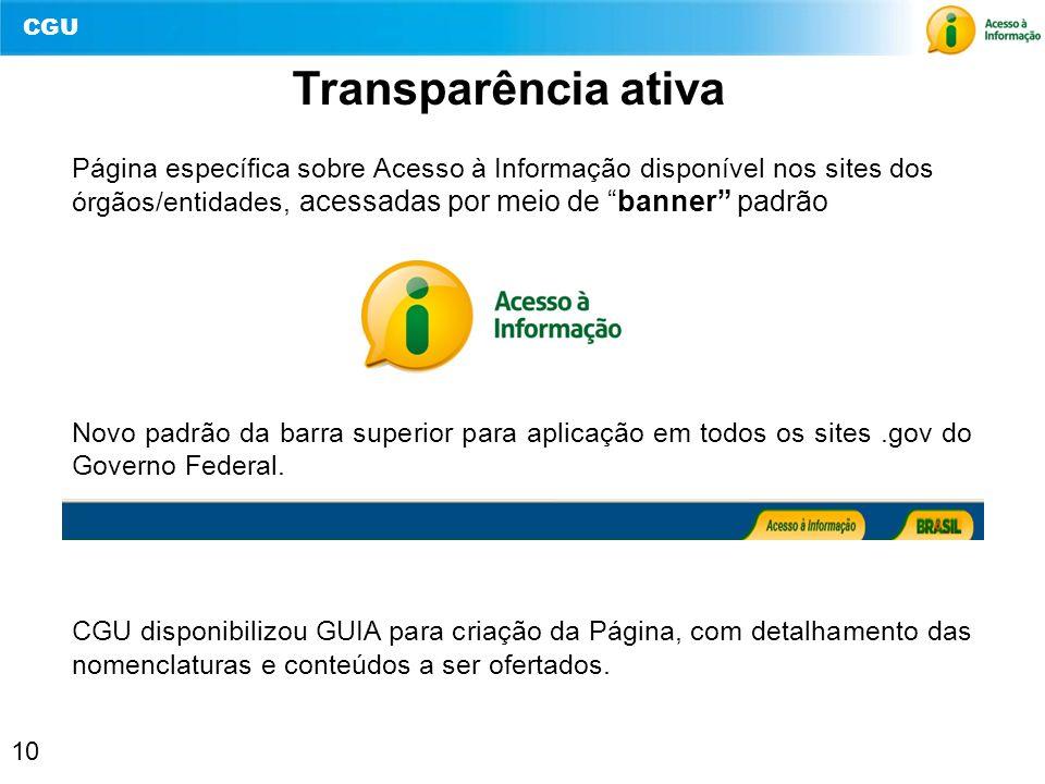 Transparência ativa Página específica sobre Acesso à Informação disponível nos sites dos órgãos/entidades, acessadas por meio de banner padrão.