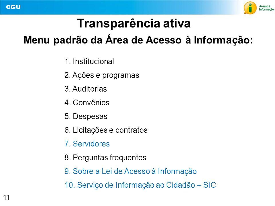 Menu padrão da Área de Acesso à Informação: