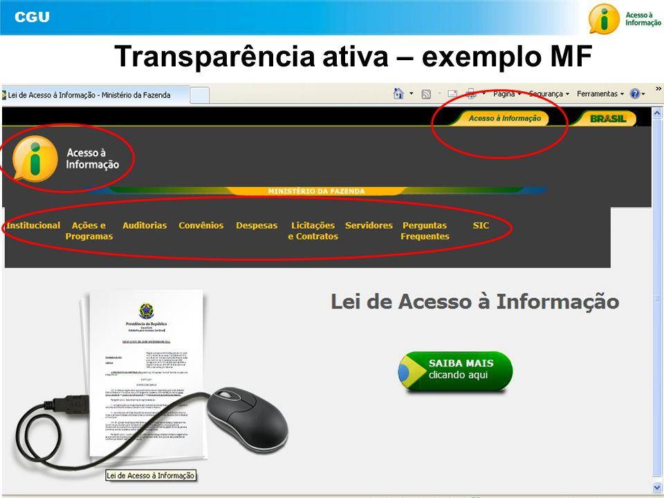 Transparência ativa – exemplo MF