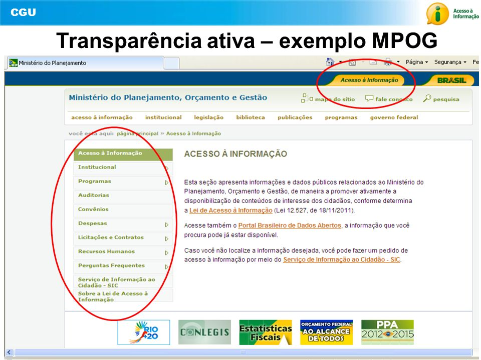 Transparência ativa – exemplo MPOG