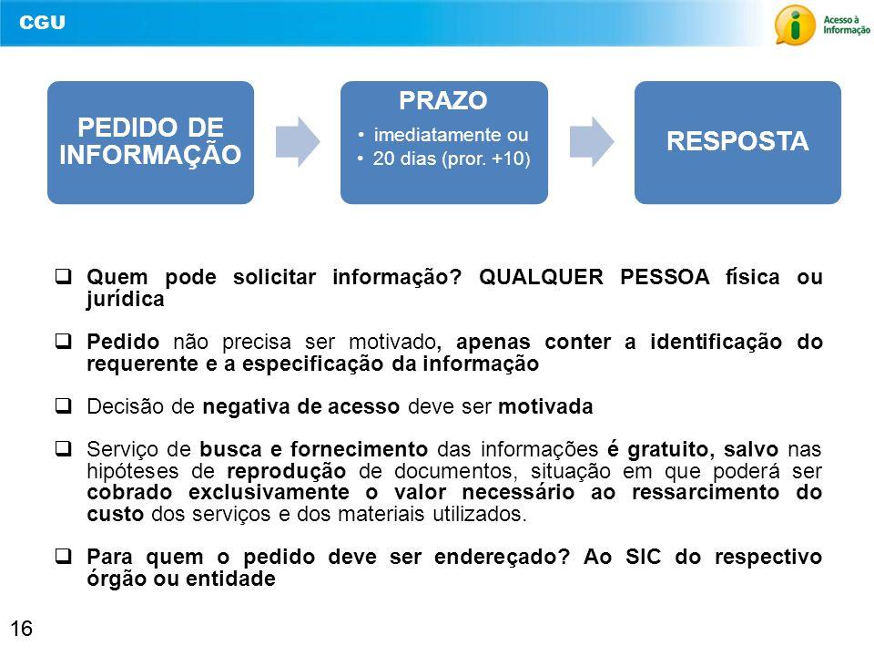 PEDIDO DE INFORMAÇÃO PRAZO. imediatamente ou. 20 dias (pror. +10) RESPOSTA. Quem pode solicitar informação QUALQUER PESSOA física ou jurídica.