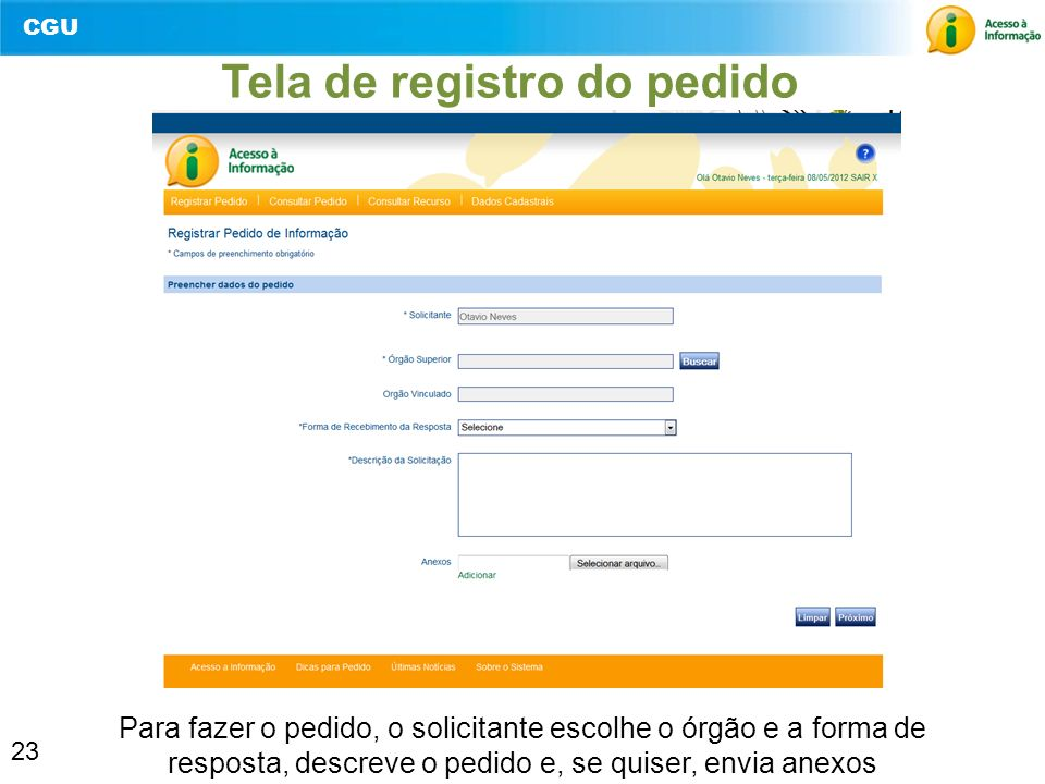 Tela de registro do pedido