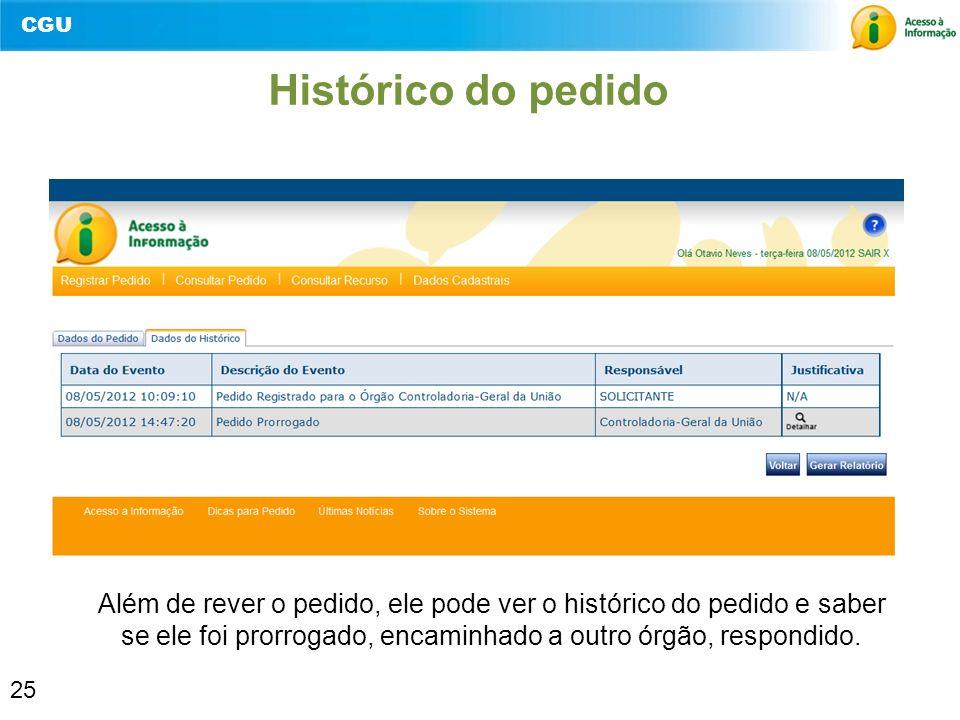 Histórico do pedido Além de rever o pedido, ele pode ver o histórico do pedido e saber se ele foi prorrogado, encaminhado a outro órgão, respondido.