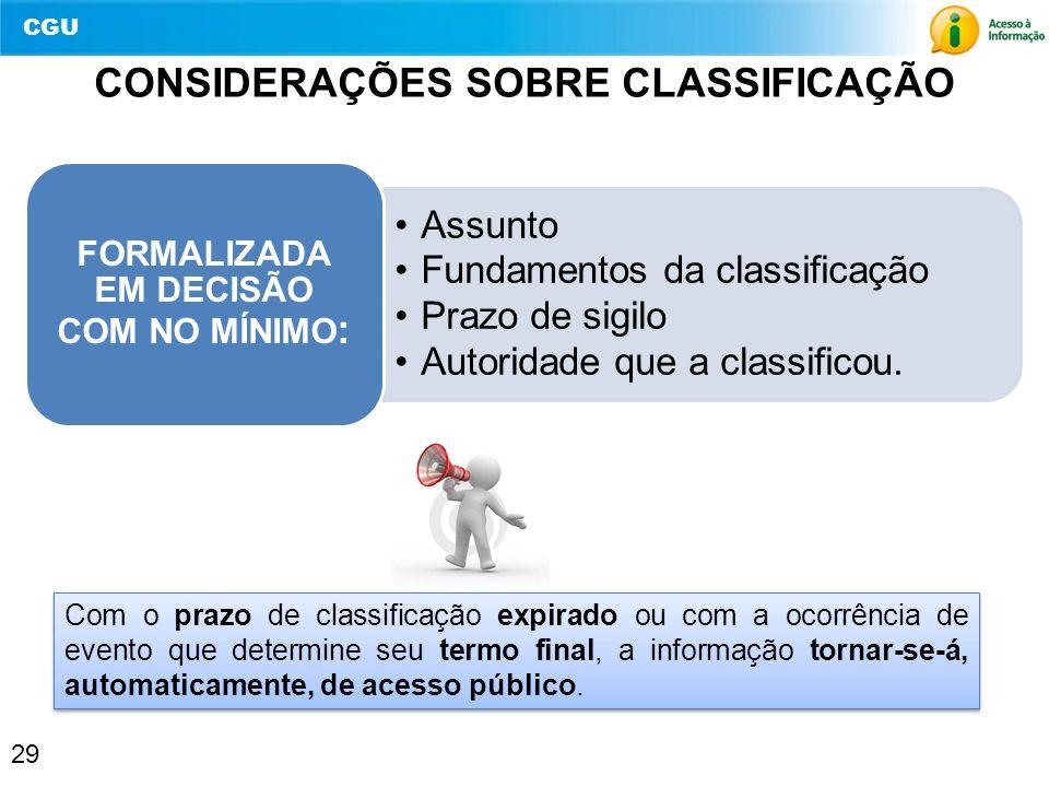CONSIDERAÇÕES SOBRE CLASSIFICAÇÃO