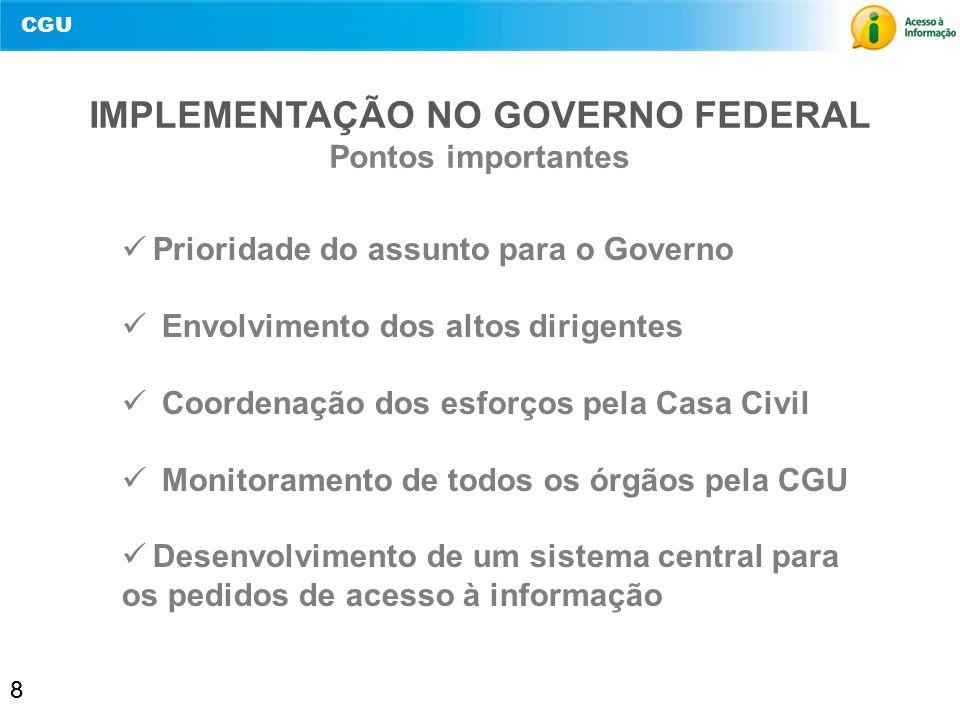 IMPLEMENTAÇÃO NO GOVERNO FEDERAL