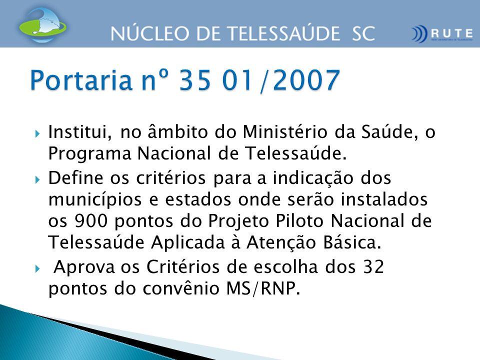 Portaria nº 35 01/2007Institui, no âmbito do Ministério da Saúde, o Programa Nacional de Telessaúde.