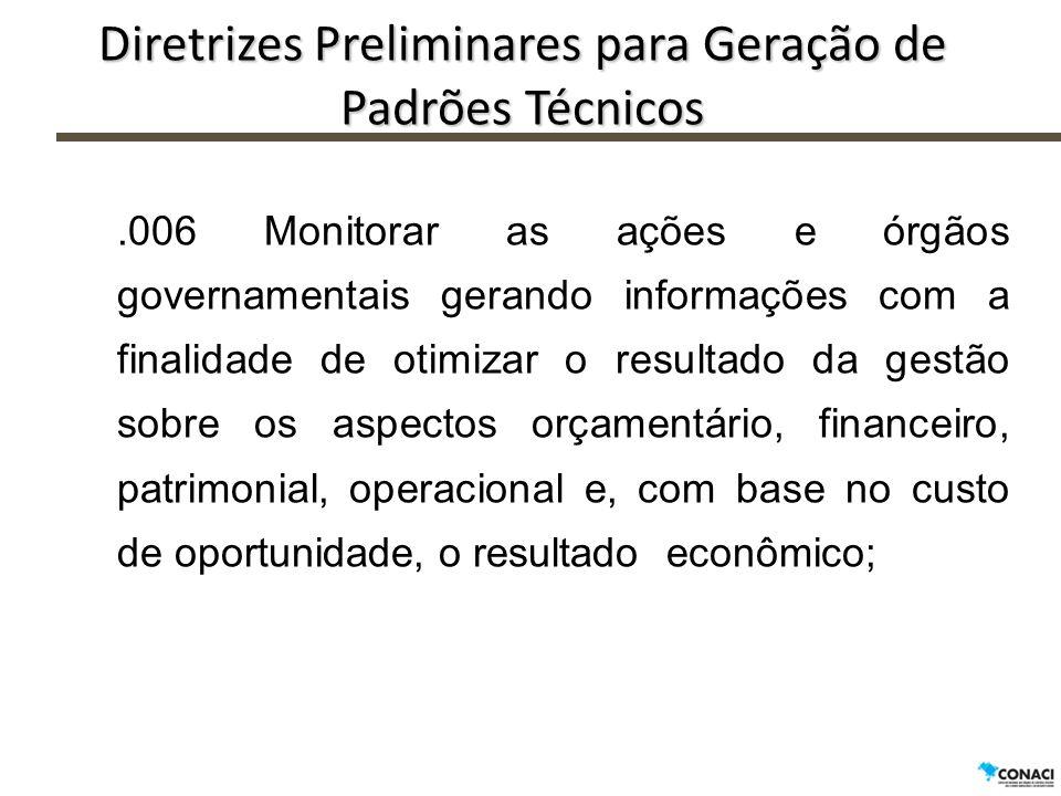 Diretrizes Preliminares para Geração de Padrões Técnicos