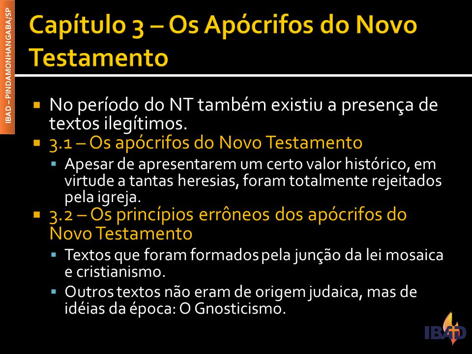 Capítulo 3 – Os Apócrifos do Novo Testamento