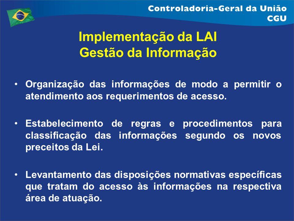 Implementação da LAI Gestão da Informação