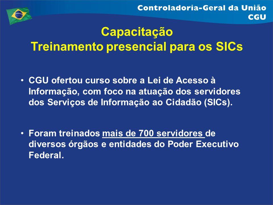 Capacitação Treinamento presencial para os SICs