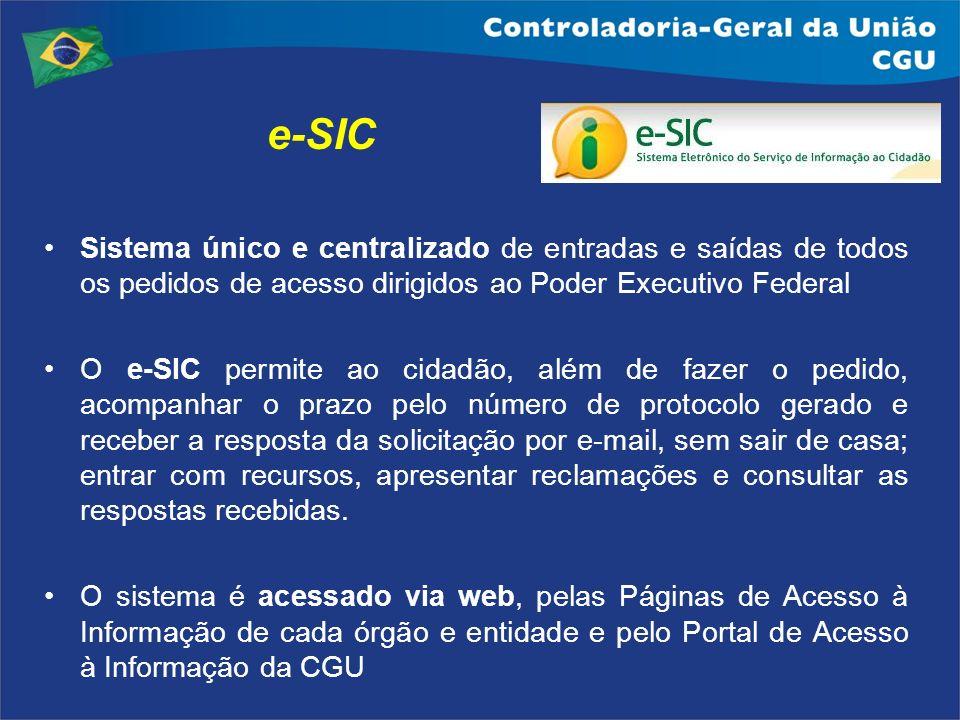 e-SIC Sistema único e centralizado de entradas e saídas de todos os pedidos de acesso dirigidos ao Poder Executivo Federal.
