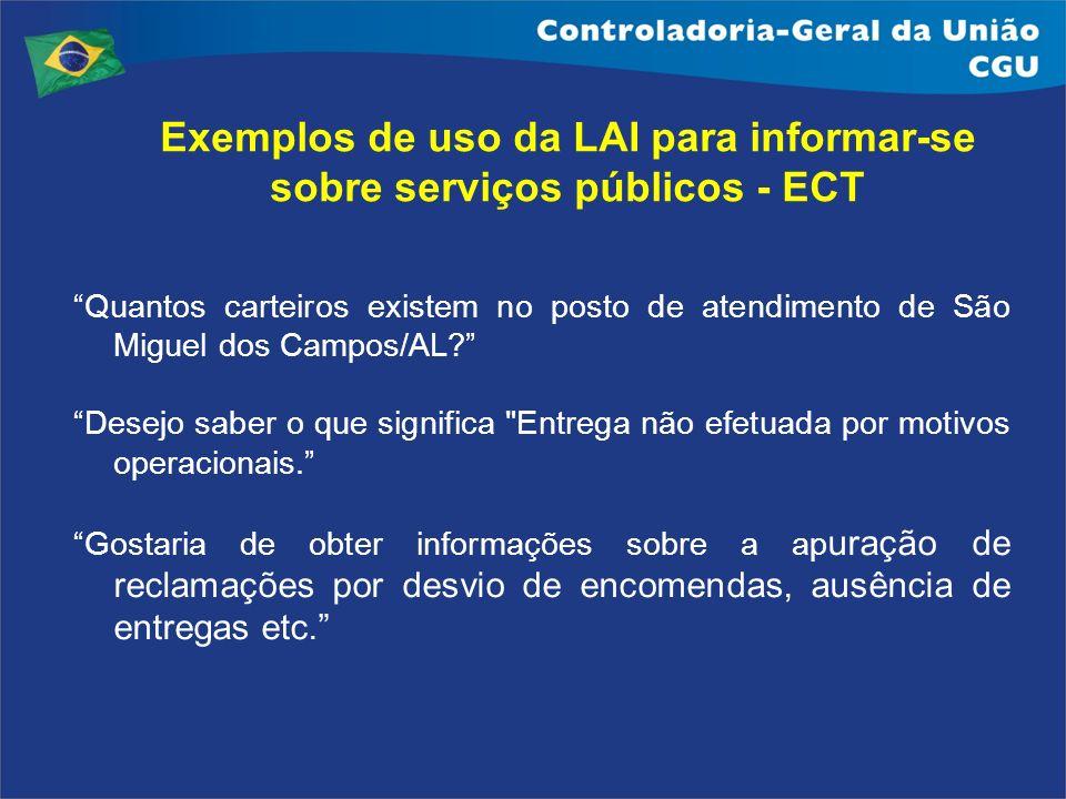 Exemplos de uso da LAI para informar-se sobre serviços públicos - ECT